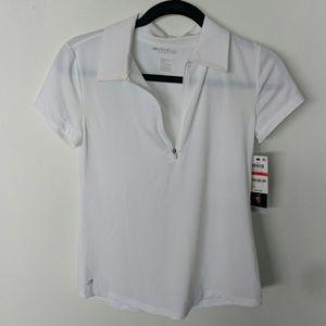 Tops - Womens Ideology Golf Collar Zip T-Shirt white